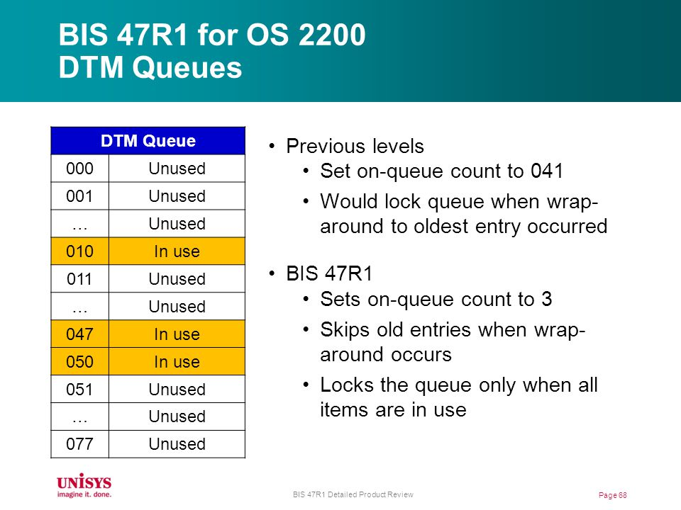 BIS 47R1 for OS 2200 DTM Queues Page 68 BIS 47R1 Detailed Product Review DTM Queue 000Unused 001Unused … 010In use 011Unused … 047In use 050In use 051Unused … 077Unused Previous levels Set on-queue count to 041 Would lock queue when wrap- around to oldest entry occurred BIS 47R1 Sets on-queue count to 3 Skips old entries when wrap- around occurs Locks the queue only when all items are in use