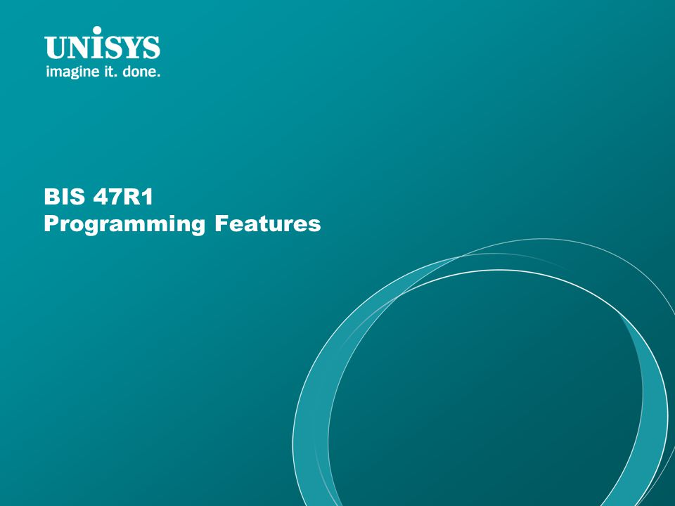 BIS 47R1 Programming Features
