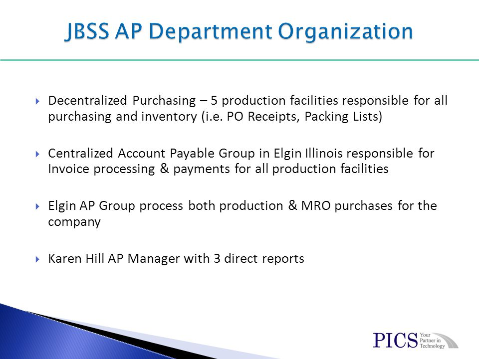 Transactions – PO Receipts performed at the production facilities.