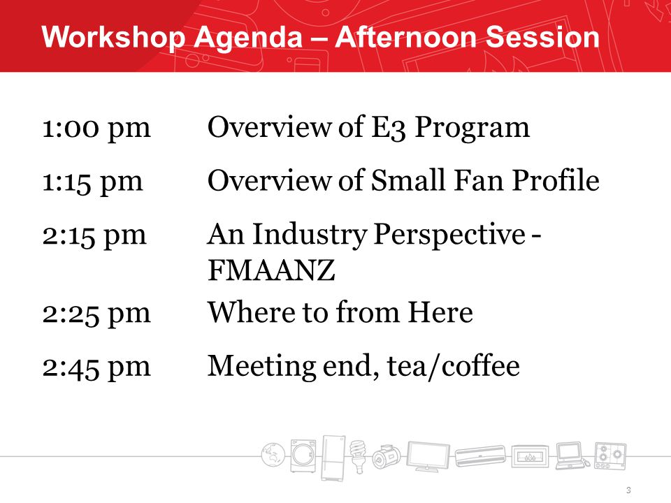Workshop Agenda – Afternoon Session 1:00 pmOverview of E3 Program 1:15 pmOverview of Small Fan Profile 2:15 pmAn Industry Perspective - FMAANZ 2:25 pmWhere to from Here 2:45 pmMeeting end, tea/coffee 3