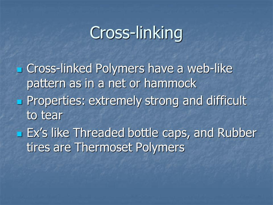 Cross-linking Cross-linked Polymers have a web-like pattern as in a net or hammock Cross-linked Polymers have a web-like pattern as in a net or hammoc