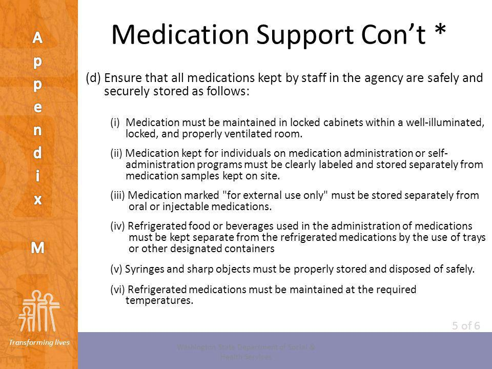 Transforming lives Medication Support Cont * (d) Ensure that all medications kept by staff in the agency are safely and securely stored as follows: (i