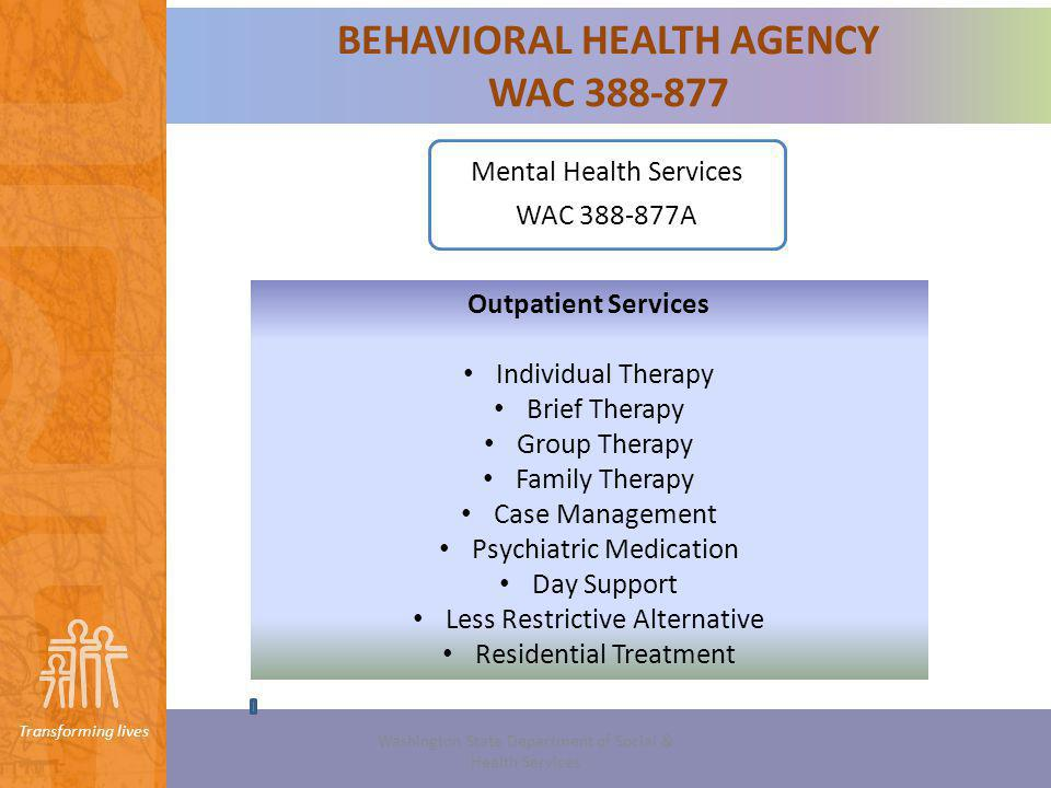 Transforming lives Option 2 Outpatient Services Case Management Services WAC 388-877A-0170 (1)An agency must provide case management services that: (a) Assist an individual to achieve the goals stated in the plan; (b) Support consumer employment, education and/or participation in other daily activities appropriate to the individuals age, gender and culture; and (c) Assist an individual to resolve crises in the least restrictive setting.