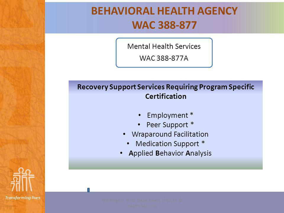 Transforming lives Youve decided… You want to become a Licensed Behavioral Health Agency and provide a Recovery Support Service requiring program specific certification.