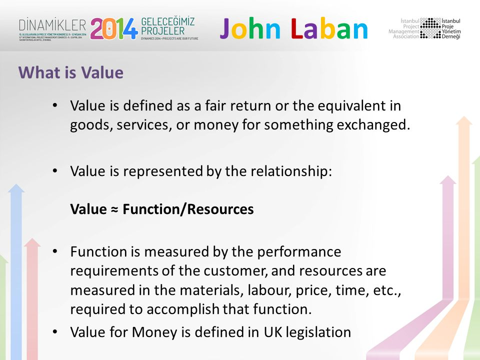John LabanJohn Laban Value is defined as a fair return or the equivalent in goods, services, or money for something exchanged.
