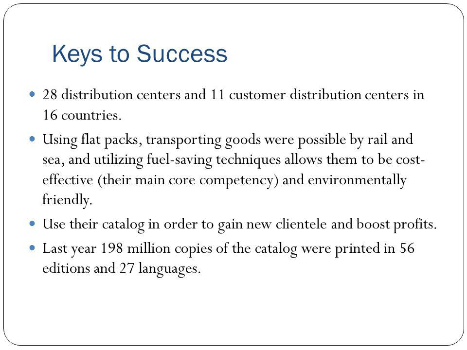 Keys to Success 28 distribution centers and 11 customer distribution centers in 16 countries. Using flat packs, transporting goods were possible by ra