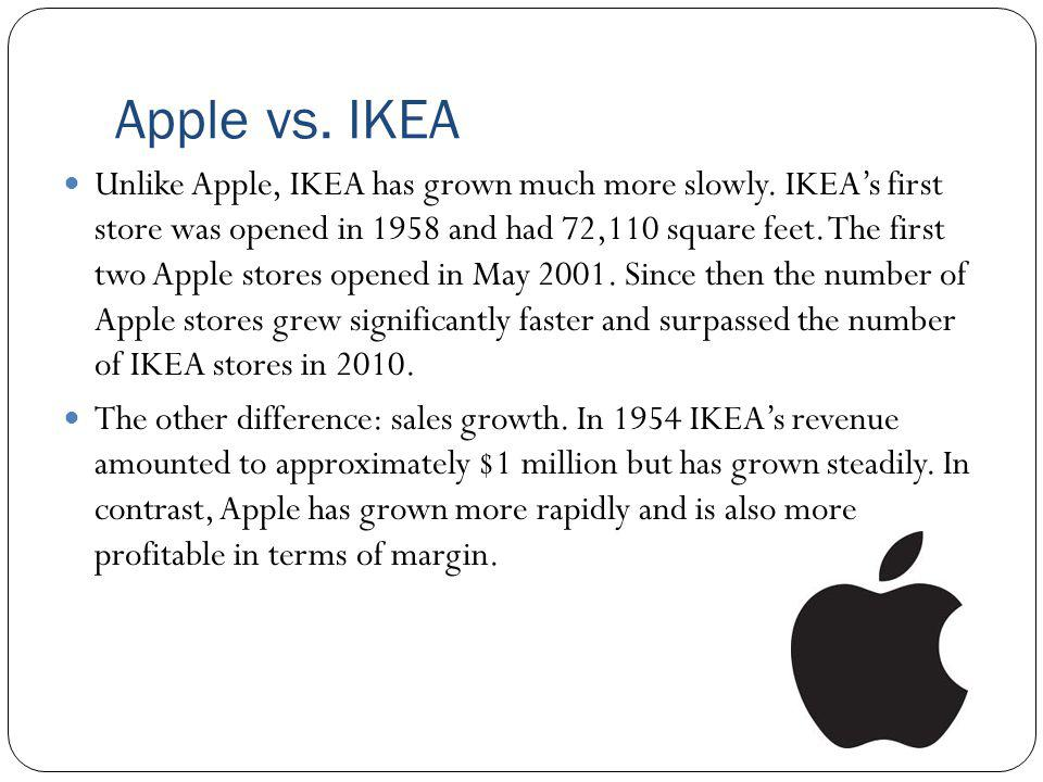 Apple vs. IKEA Unlike Apple, IKEA has grown much more slowly. IKEAs first store was opened in 1958 and had 72,110 square feet. The first two Apple sto