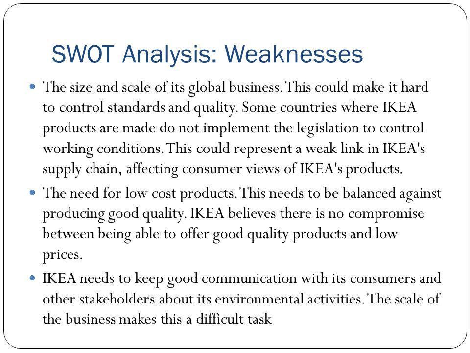 SWOT Analysis: Weaknesses The size and scale of its global business. This could make it hard to control standards and quality. Some countries where IK