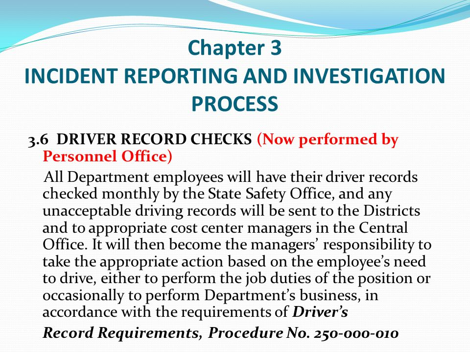 Chapter 4 PERSONAL INJURY/ILLNESS REPORTING 4.1.2 The Immediate Supervisor shall: (B) Call the Managed Care Provider (contact your Workers Compensation Coordinator for the current phone number) who will provide instructions where the injured employee should go for medical treatment.