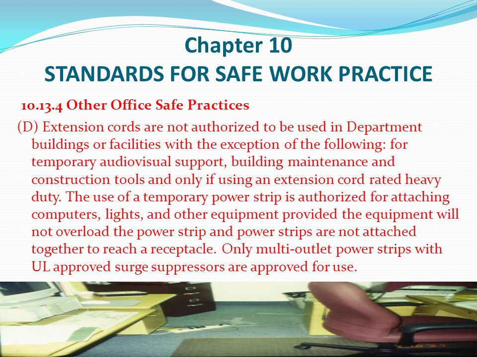 Chapter 10 STANDARDS FOR SAFE WORK PRACTICE 10.14 INDOOR AIR QUALITY (D) These complaints can include but are not limited to: continuous sinus problems, headaches when in the building, drowsiness, watery eyes, sneezing, etc.