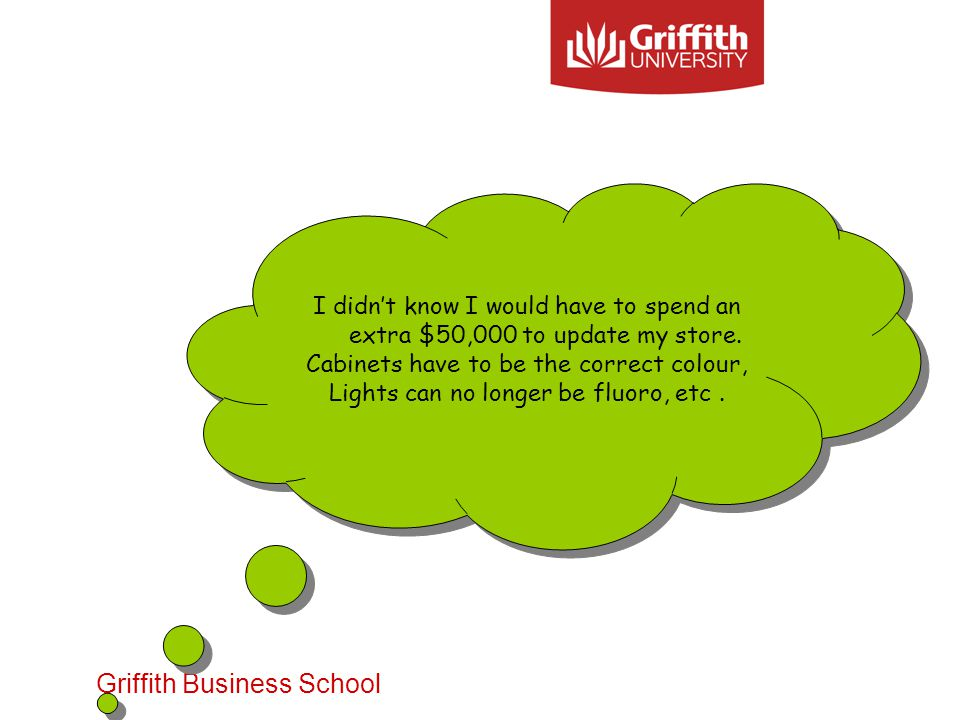 Griffith Business School I didnt know I would have to spend an extra $50,000 to update my store.