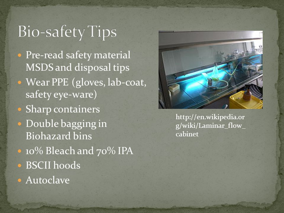 Pre-read safety material MSDS and disposal tips Wear PPE (gloves, lab-coat, safety eye-ware) Sharp containers Double bagging in Biohazard bins 10% Bleach and 70% IPA BSCII hoods Autoclave http://en.wikipedia.or g/wiki/Laminar_flow_ cabinet