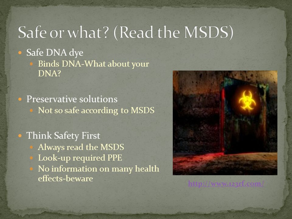 Safe DNA dye Binds DNA-What about your DNA? Preservative solutions Not so safe according to MSDS Think Safety First Always read the MSDS Look-up requi