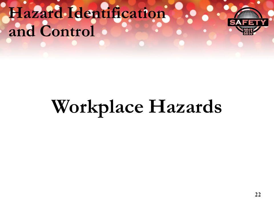 Hazard Identification and Control Workplace Hazards 22
