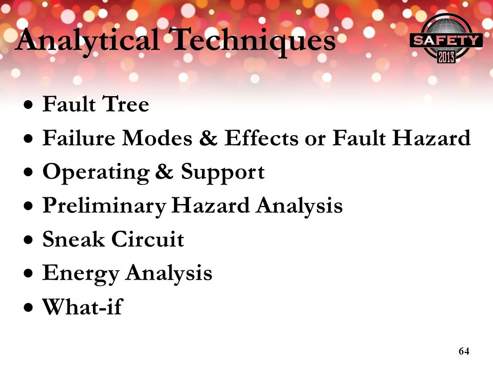 Analytical Techniques Fault Tree Failure Modes & Effects or Fault Hazard Operating & Support Preliminary Hazard Analysis Sneak Circuit Energy Analysis