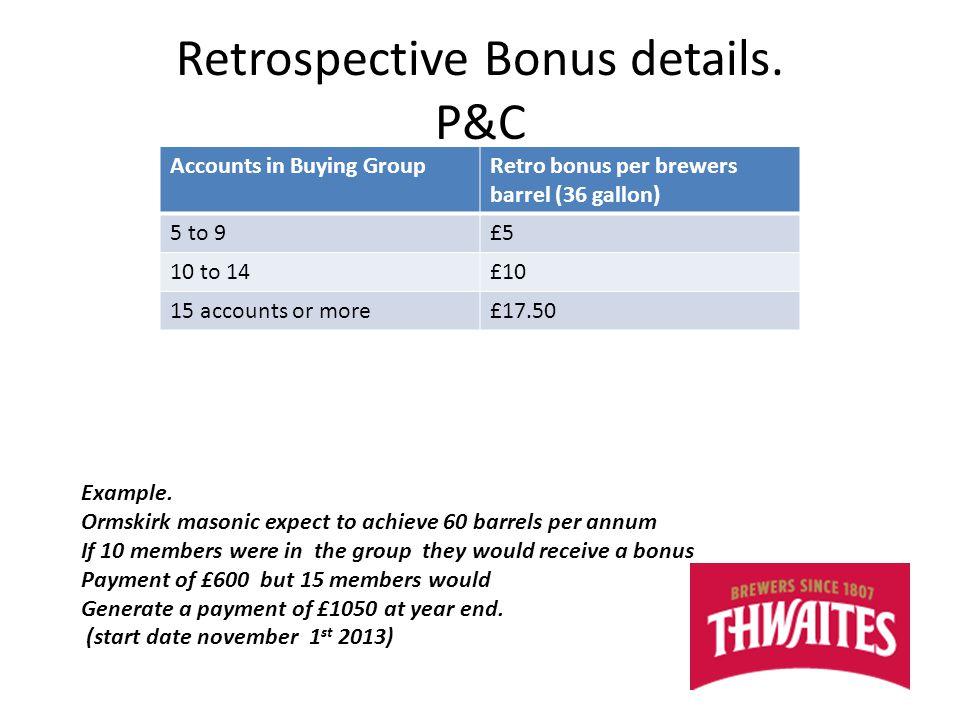 Retrospective Bonus details.
