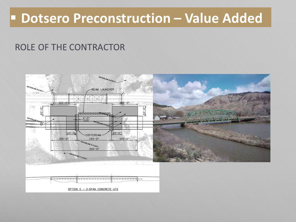 ROLE OF THE CONTRACTOR Dotsero Preconstruction – Value Added