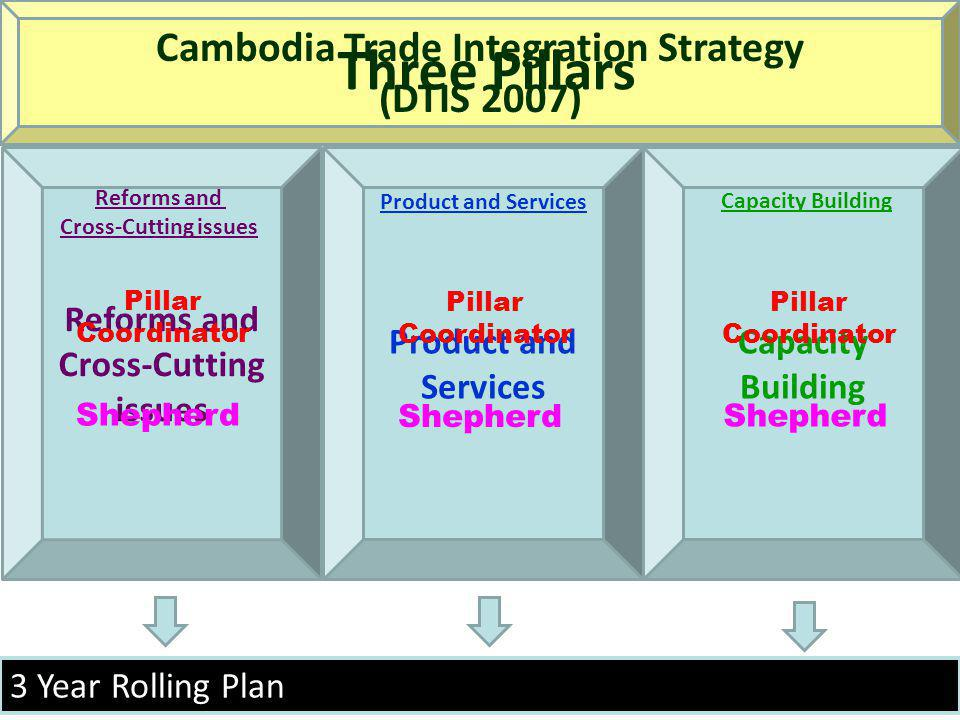 3 Year Rolling Plan Reforms and Cross-Cutting issues Product and Services Capacity Building Cambodia Trade Integration Strategy (DTIS 2007) Three Pill