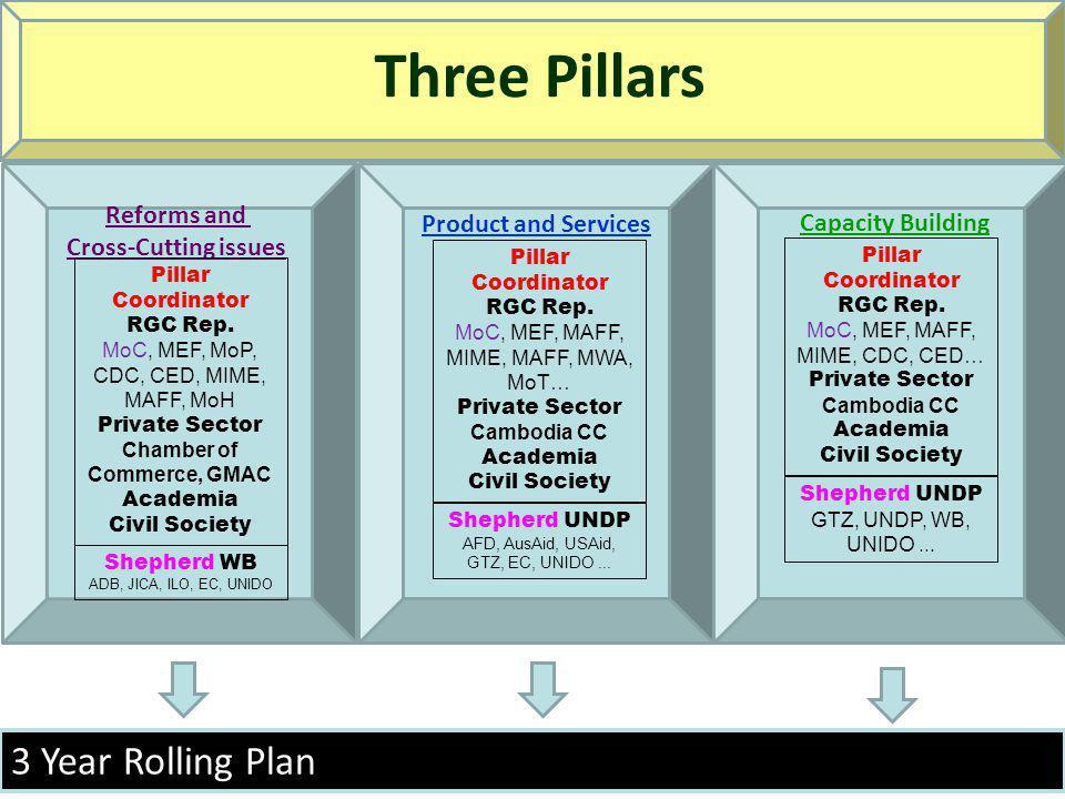 3 Year Rolling Plan Three Pillars Reforms and Cross-Cutting issues Shepherd WB ADB, JICA, ILO, EC, UNIDO Pillar Coordinator RGC Rep.