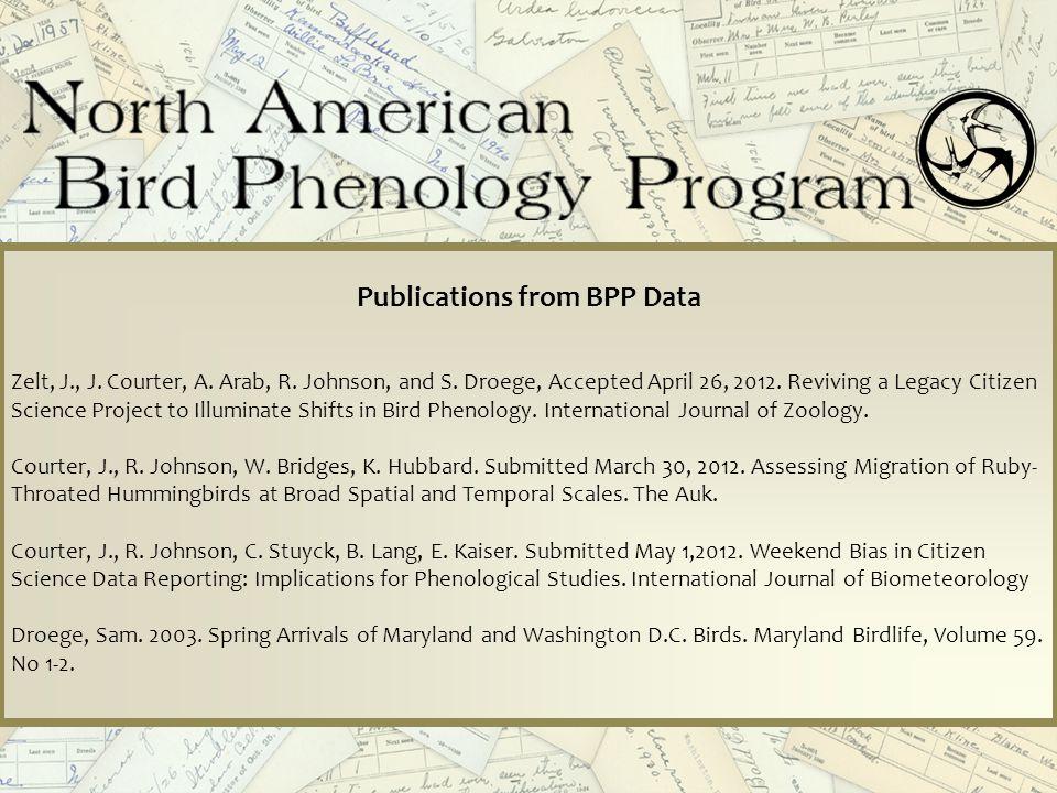 Publications from BPP Data Zelt, J., J.Courter, A.