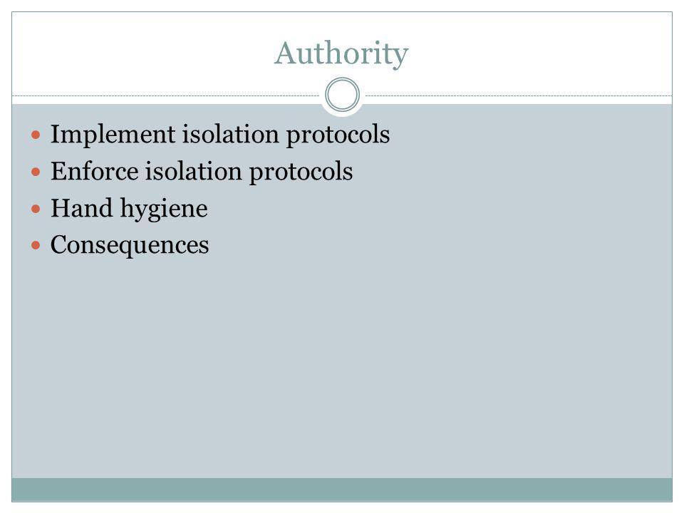 Authority Implement isolation protocols Enforce isolation protocols Hand hygiene Consequences