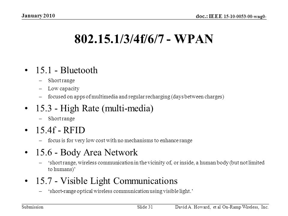 doc.: IEEE 15-10-0053-00-wng0- Submission 802.15.1/3/4f/6/7 - WPAN 15.1 - Bluetooth –Short range –Low capacity –focused on apps of multimedia and regular recharging (days between charges) 15.3 - High Rate (multi-media) –Short range 15.4f - RFID –focus is for very low cost with no mechanisms to enhance range 15.6 - Body Area Network –short range, wireless communication in the vicinity of, or inside, a human body (but not limited to humans) 15.7 - Visible Light Communications –short-range optical wireless communication using visible light.