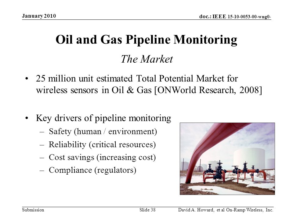 doc.: IEEE 15-10-0053-00-wng0- Submission Oil and Gas Pipeline Monitoring January 2010 David A.