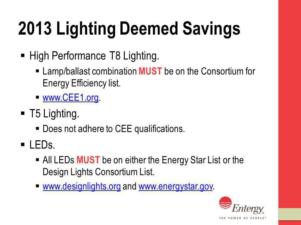 2013 Lighting Deemed Savings High Performance T8 Lighting.