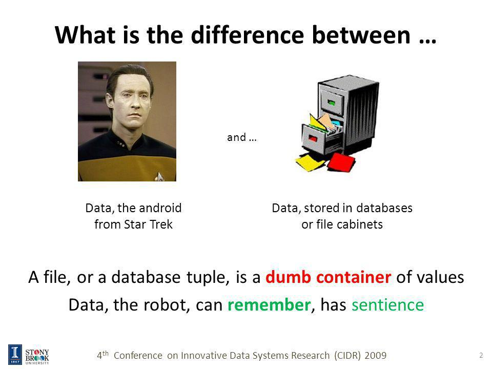 What is the difference between … A file, or a database tuple, is a dumb container of values Data, the robot, can remember, has sentience 4 th Conference on Innovative Data Systems Research (CIDR) 2009 2 Data, the android from Star Trek and … Data, stored in databases or file cabinets