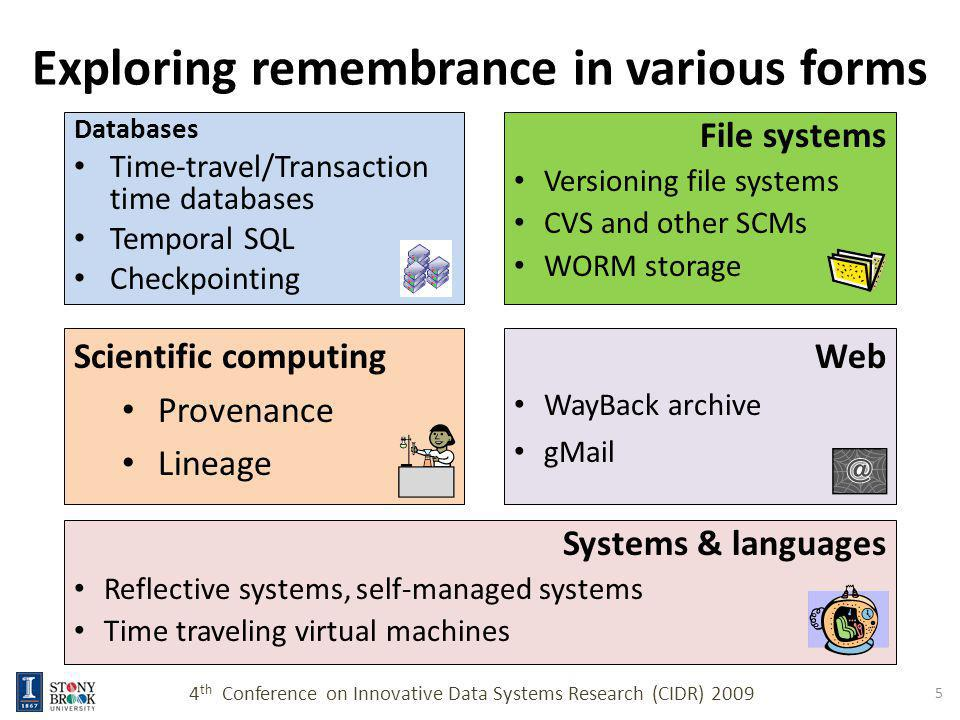 However … Most of these systems are in essence, versioning systems – Memory / history is not an intrinsic property of data – Association between a data value and its history is kept externally These solutions are also isolated, piecemeal, and glued together by our original single-valued, oblivious data paradigm 4 th Conference on Innovative Data Systems Research (CIDR) 2009 6