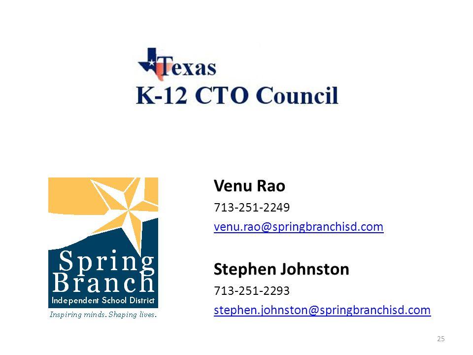 Venu Rao 713-251-2249 venu.rao@springbranchisd.com Stephen Johnston 713-251-2293 stephen.johnston@springbranchisd.com 25