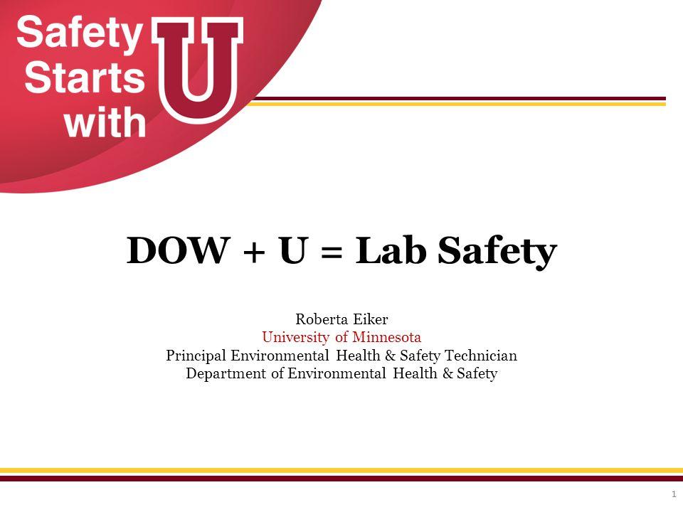 DOW + U = Lab Safety 1 Roberta Eiker University of Minnesota Principal Environmental Health & Safety Technician Department of Environmental Health & Safety