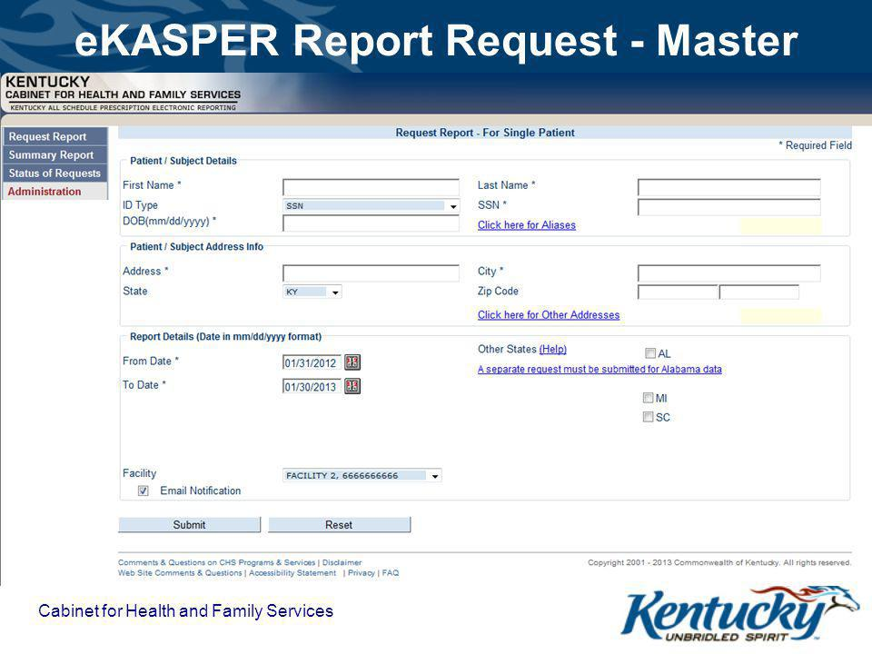eKASPER Report Request - Master Cabinet for Health and Family Services