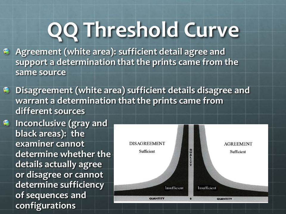 QQ Threshold Curve Agreement (white area): sufficient detail agree and support a determination that the prints came from the same source Disagreement (white area) sufficient details disagree and warrant a determination that the prints came from different sources Inconclusive (gray and black areas): the examiner cannot determine whether the details actually agree or disagree or cannot determine sufficiency of sequences and configurations