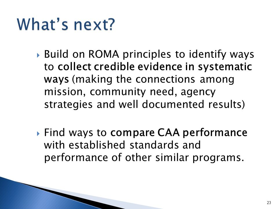 Build on ROMA principles to identify ways to collect credible evidence in systematic ways (making the connections among mission, community need, agency strategies and well documented results) Find ways to compare CAA performance with established standards and performance of other similar programs.