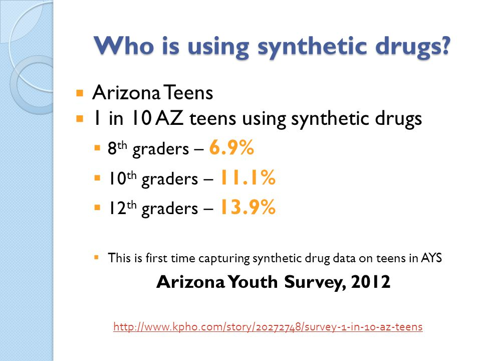 Who is using synthetic drugs? Arizona Teens 1 in 10 AZ teens using synthetic drugs 8 th graders – 6.9% 10 th graders – 11.1% 12 th graders – 13.9% Thi