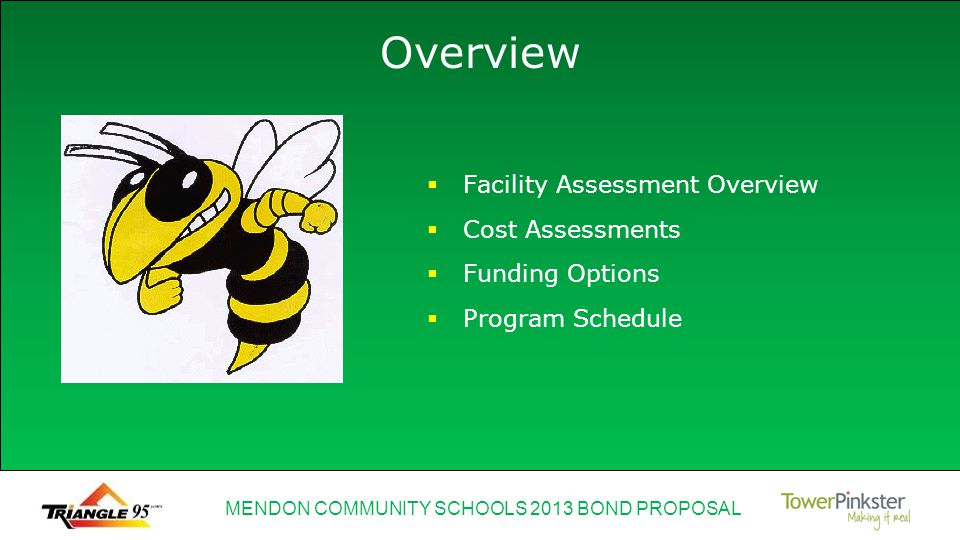 MENDON COMMUNITY SCHOOLS 2013 BOND PROPOSAL Facility Assessment Overview Cost Assessments Funding Options Program Schedule Overview