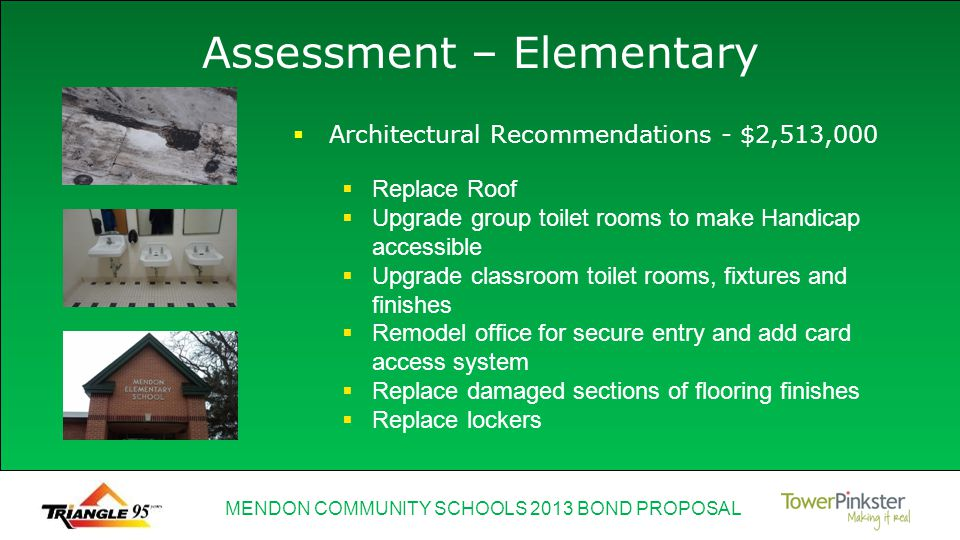 MENDON COMMUNITY SCHOOLS 2013 BOND PROPOSAL Assessment – Elementary Heating and cooling distribution system needs to be replaced Internal water distribution system needs to be replaced Upgrade HVAC controls – pneumatic to digital Mechanical Recommendations - $535,000