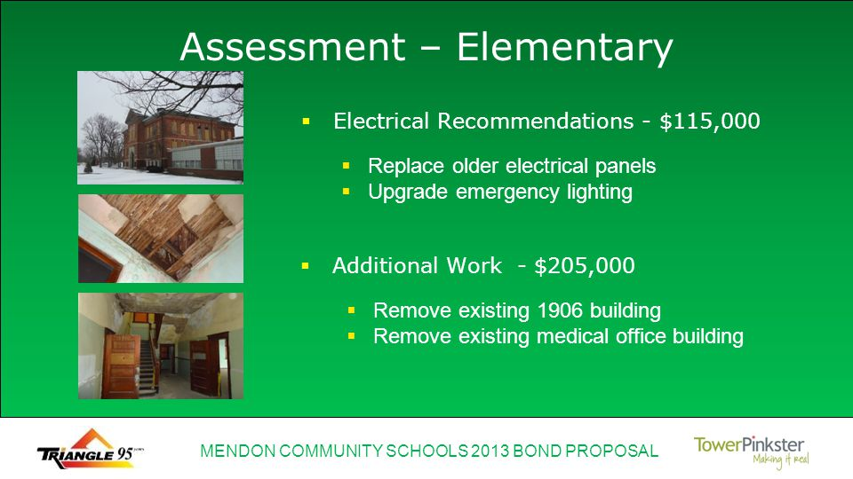 MENDON COMMUNITY SCHOOLS 2013 BOND PROPOSAL Assessment – Elementary Electrical Recommendations - $115,000 Replace older electrical panels Upgrade emer