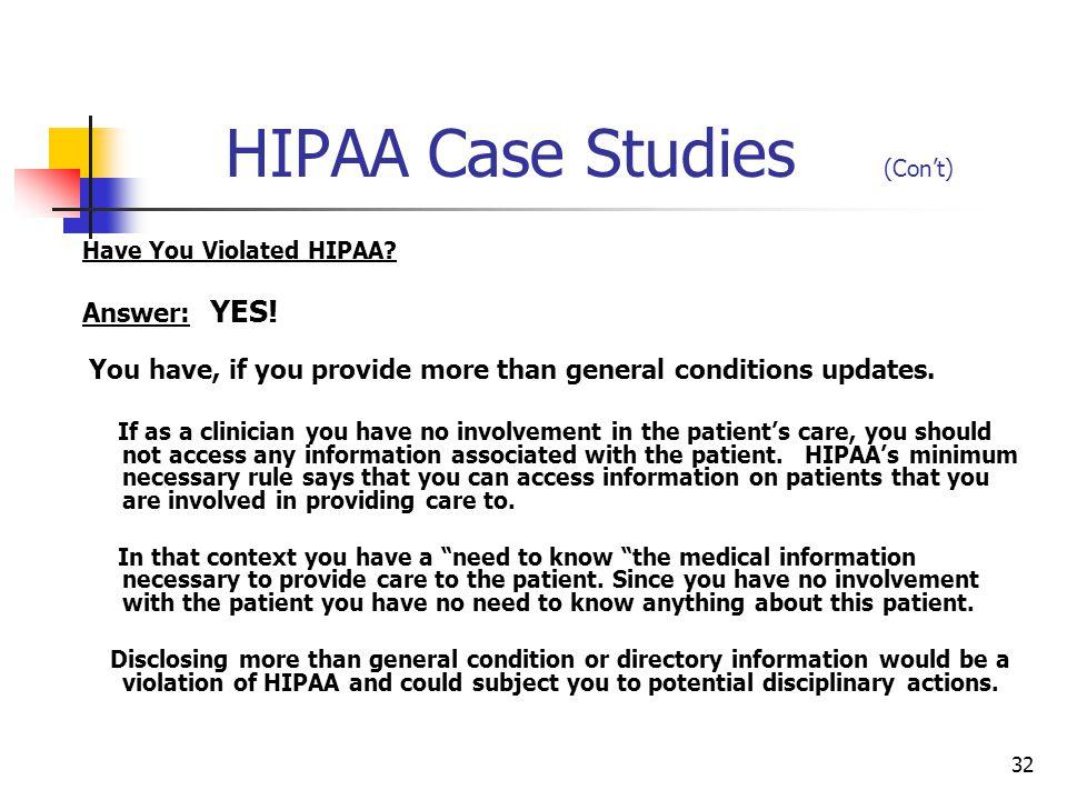 hipaa case study Jsbmha and hipaa case study melissa baetz hsm/230 april 30, 2015 paulina cary jsbmha and hipaa case study the health insurance portability and accountability.