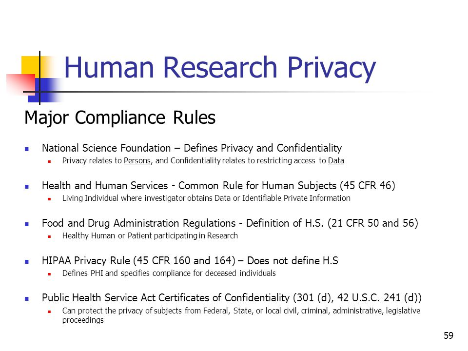 Human Research Privacy Major Compliance Rules National Science Foundation – Defines Privacy and Confidentiality Privacy relates to Persons, and Confid