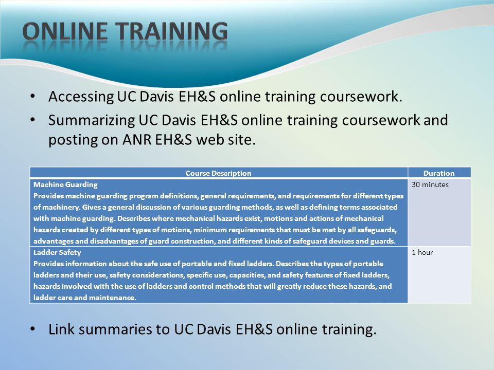 Accessing UC Davis EH&S online training coursework.
