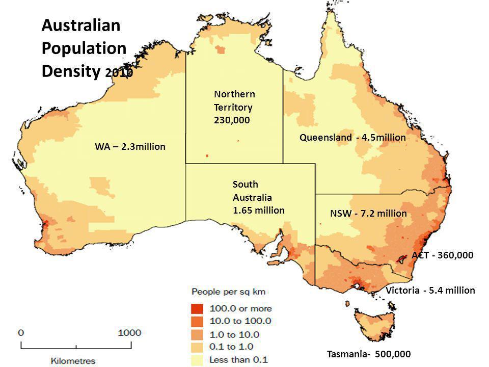 NSW - 7.2 million Victoria - 5.4 million Queensland - 4.5million South Australia 1.65 million WA – 2.3million Tasmania- 500,000 Northern Territory 230,000 ACT - 360,000 Australian Population Density 2010