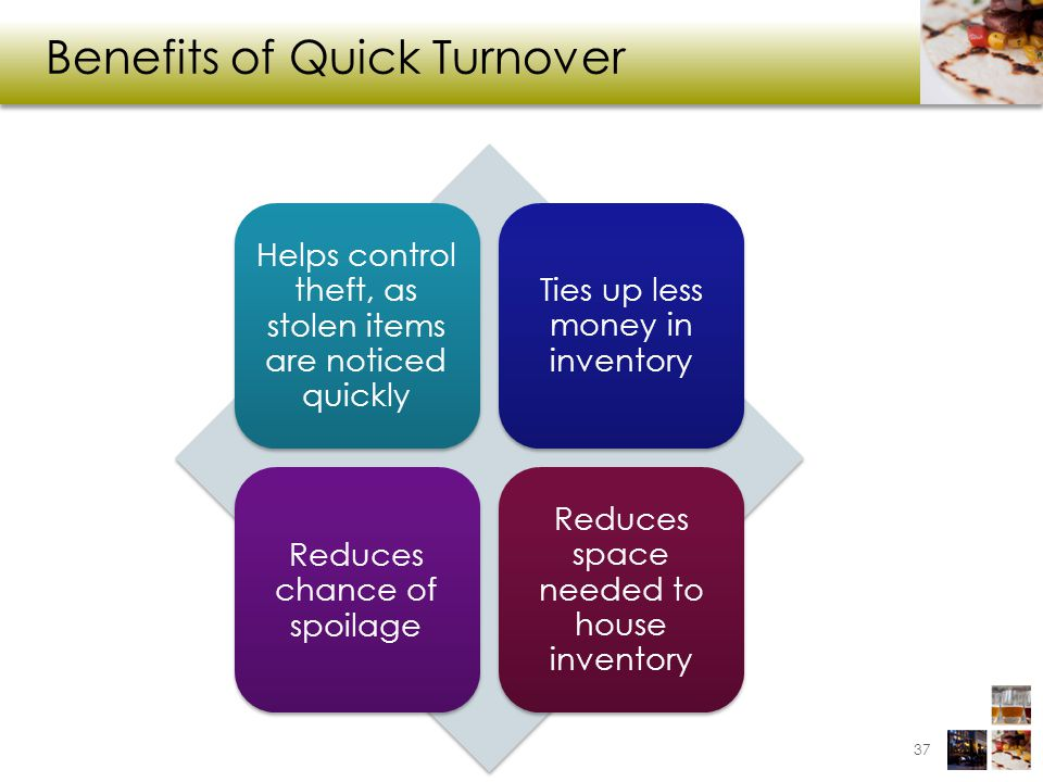 Benefits of Quick Turnover 37 Helps control theft, as stolen items are noticed quickly Ties up less money in inventory Reduces chance of spoilage Reduces space needed to house inventory