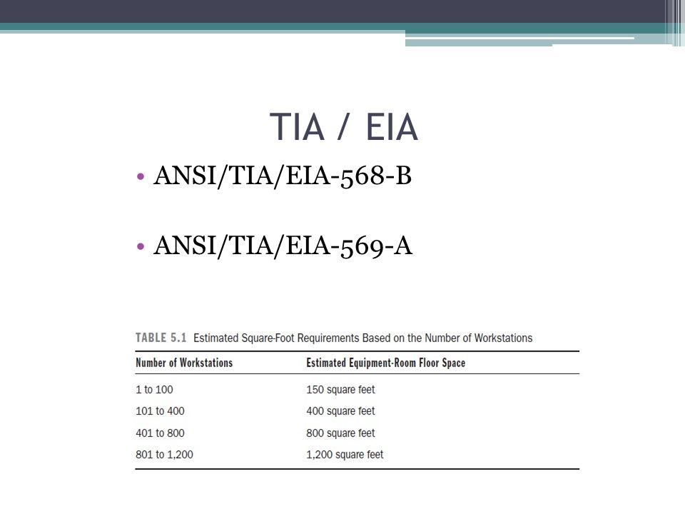 TIA / EIA ANSI/TIA/EIA-568-B ANSI/TIA/EIA-569-A