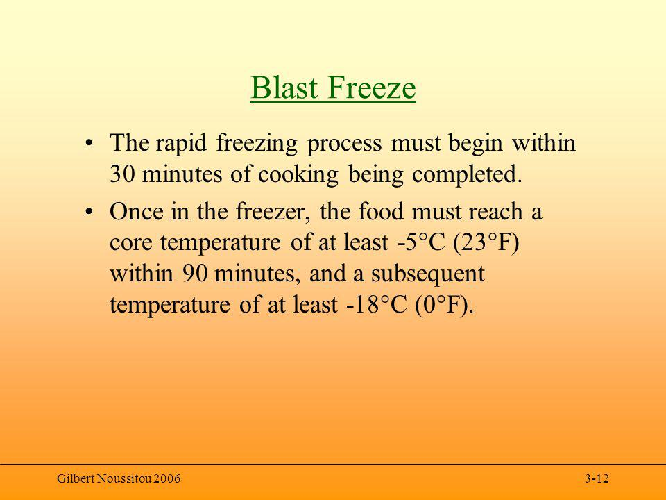 Gilbert Noussitou 20063-12 Blast Freeze The rapid freezing process must begin within 30 minutes of cooking being completed.