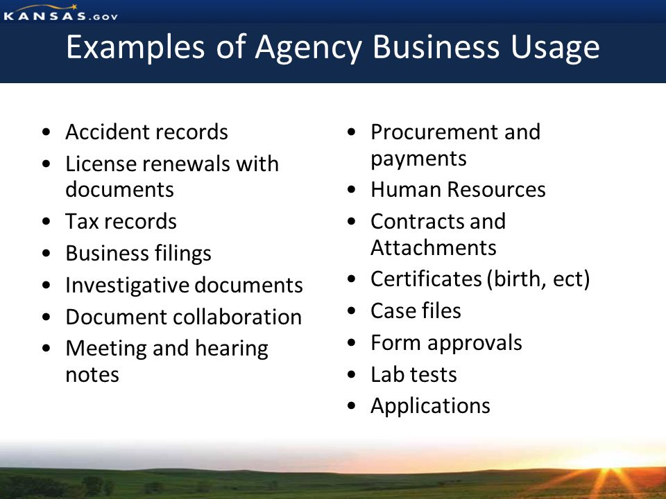Examples of Agency Business Usage Accident records License renewals with documents Tax records Business filings Investigative documents Document collaboration Meeting and hearing notes Procurement and payments Human Resources Contracts and Attachments Certificates (birth, ect) Case files Form approvals Lab tests Applications