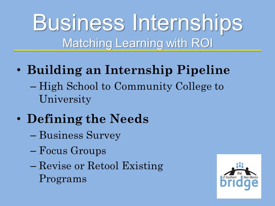 Business Internships Matching Learning with ROI Building an Internship Pipeline – High School to Community College to University Defining the Needs – Business Survey – Focus Groups – Revise or Retool Existing Programs