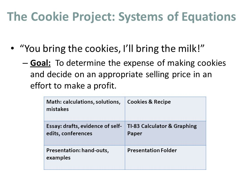 The Cookie Project: Systems of Equations You bring the cookies, Ill bring the milk.