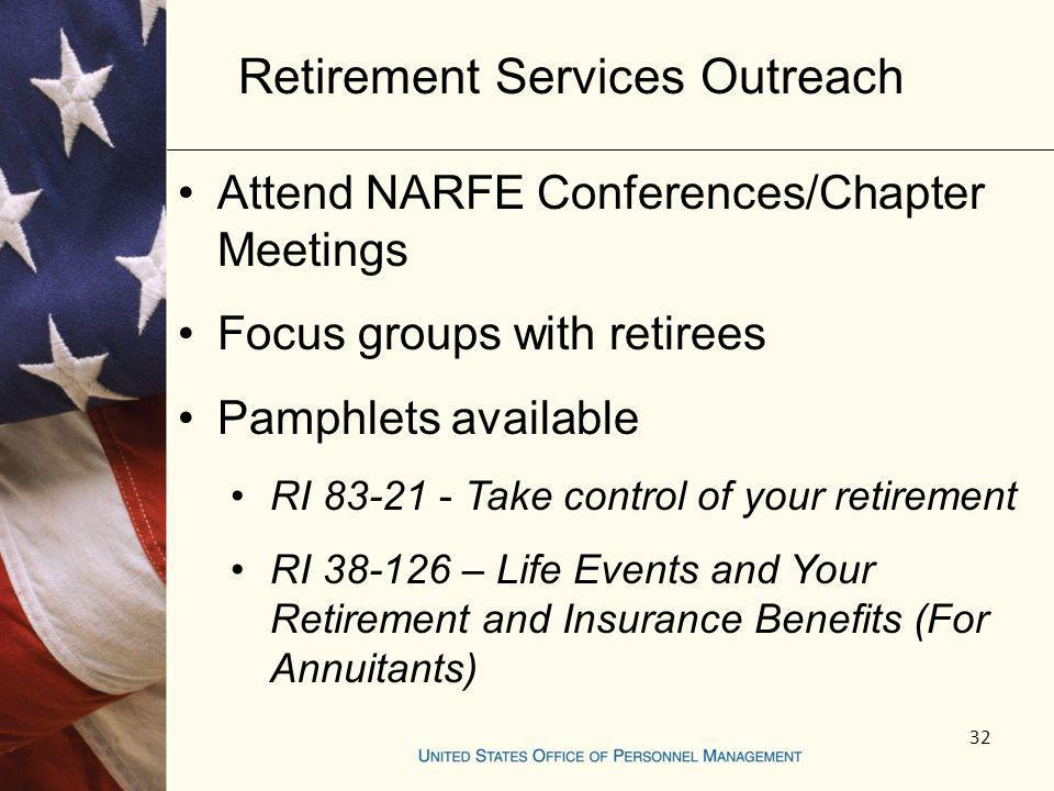 32 Attend NARFE Conferences/Chapter Meetings Focus groups with retirees Pamphlets available RI 83-21 - Take control of your retirement RI 38-126 – Lif